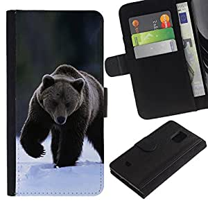 All Phone Most Case / Oferta Especial Cáscara Funda de cuero Monedero Cubierta de proteccion Caso / Wallet Case for Samsung Galaxy S5 Mini, SM-G800 // The Winter Grizzly Bear