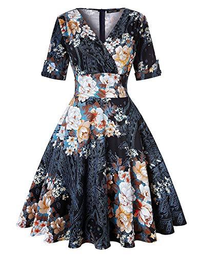 Women's 50s Vintage Autumn Dress V Neck Half Sleeve Floral Tea Cocktail Party A-Line Midi Dress (Floral Black,Size S)