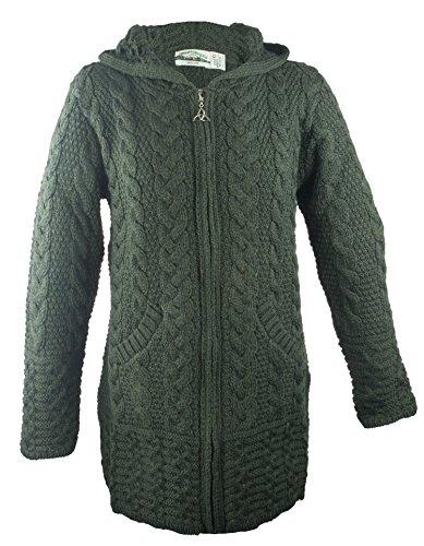 100% Irish Merino Wool Ladies Hooded Aran Zip Sweater Coat, Army Green, Small
