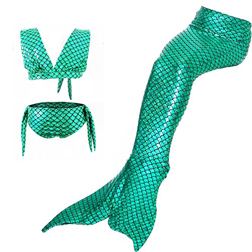 Lonchee Girl's 3pcs Mermaid Tail Swimmable Princess Bikini Set [ V tie style ] Costume Swimsuit Can Match Monofin for Swimming (Zelda Scuba Dog Costumes)