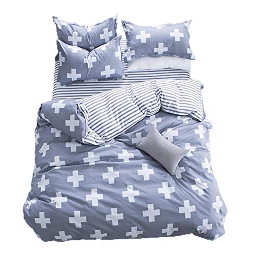 - Luxurious Duvet Cover Sets With Hidden Zipper Closure-3 Pieces Ultra Soft And Cozy Hypoallergenic Microfiber,Cross Pattern Printed-White/GrayQueen/Full Size)