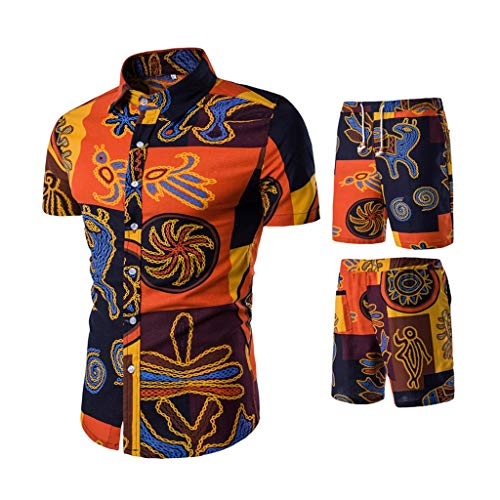 Men Shirt Beach Shorts 2 Piece Outfit Summer African Floral Print Button Down Shirts and Trunks Casual Tracksuit(Orange,M) ()