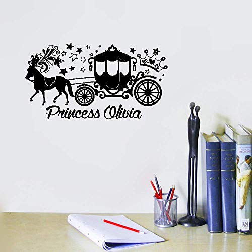 Liuaio Quotes Wall Sticker Mural Decal Art Home Decor Princess Carriage with Personalized Name