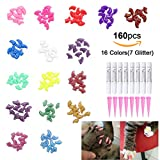 OWUDE 160Pcs Pet Nail Caps - Soft Cat Paws Grooming Claws Control Covers - 9 Colorful Kitten Nails Caps + 7 Glitter Colors + 8Pcs Adhesive Glue + 8Pcs Applicator with Instructions (Small)