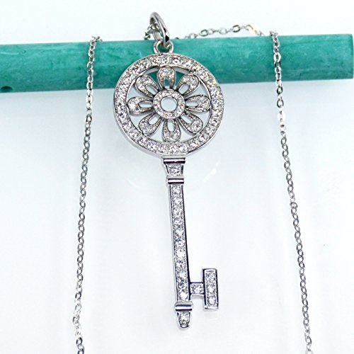 Sunflower Key Pendant Necklace, Sterling Silver, Platinum Plated, Simulated Diamond, Cubic Zirconia
