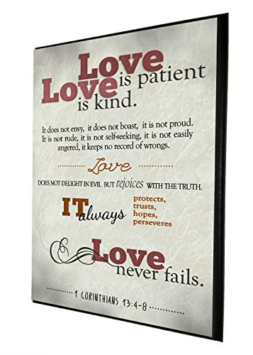 Love Is Patient, Love Is Kind. It Does Not Envy, It Does Not Boast   Religious Decor   Wood Wall Plaque   Made in USA   Ready to Hang   Perfect Christian Gift (Ivory, 9x12) InspiraGifts