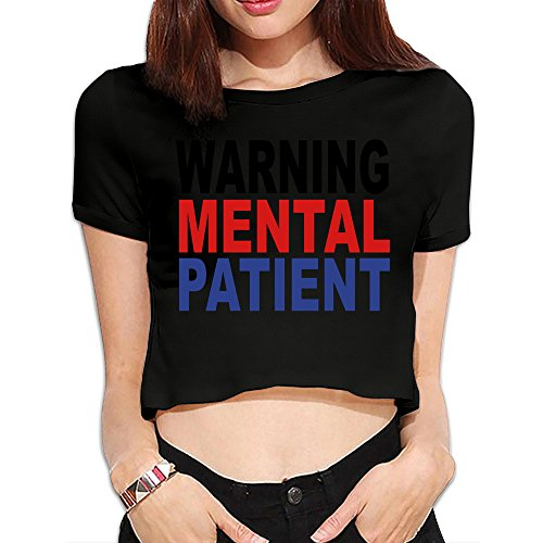 Women's Warning Mental Patient Coloured Dew Navel Personalized Tee Shirt Black US Size L- Americana Collection