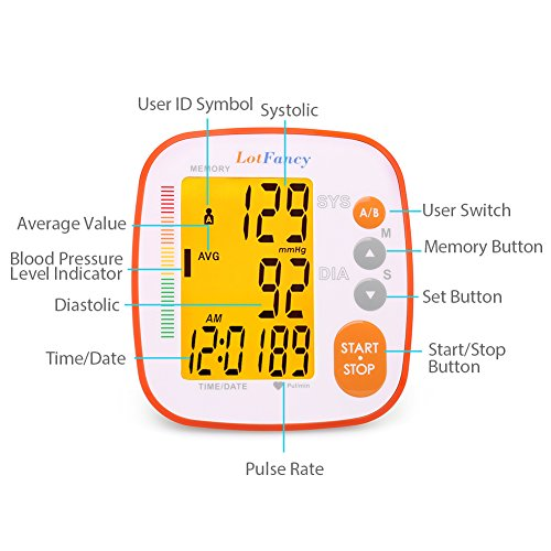 Blood Pressure Monitor by LotFancy, Automatic Upper Arm BP Cuff, 2-User Mode, 8.6 to 12.6 Inches, FDA Approved by LotFancy (Image #1)