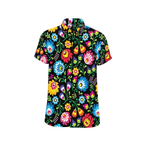 (InterestPrint Mens Shirt Polish Folk Art Floral Summer Clothes Short Sleeve Shirt)