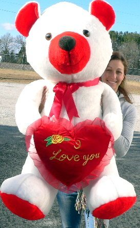 I Love You 5 Foot Giant Teddy Bear Soft Red and White 60 Inch Big Plush Valentine (Large White Teddy Bear 5 Feet compare prices)