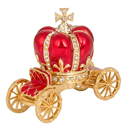 QIFU-Hand Painted Enameled Red Pumpkin Carriage Hinged Jewelry Trinket Box Unique Gift for Home Decor ()
