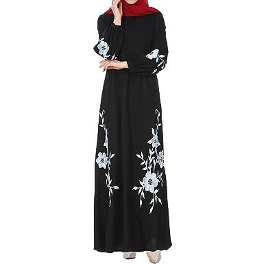Damen Elegant Langarm Kleid Maxikleider Blumenkleid Bestickt Drucken  Strandkleid Vintage Abendkleid Rundhals Hohe Taille Floral Print Böhmischen  Casual ... d0e939712c