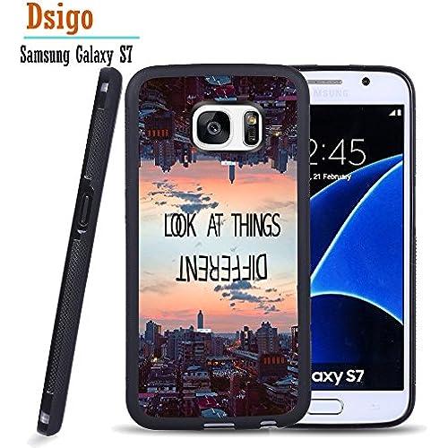 Galaxy S7 Case, Samsung S7 Black Case, Dsigo TPU Black Full Cover Protective Case for New Samsung Galaxy S7 - Reversed world Sales