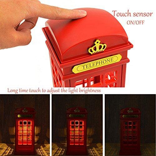 Cabina telefónica Vintage Londres diseñado de lampara de Mesa, USB LED Noche Touch Sensor lámpara (Construido en 3 Leds, Brillo Ajustable), ...