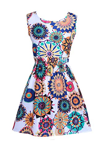 Tribal Tank Floral Chiffon Mini Coolred Women Beach Summer Sleeveless 1 Oversize Dress xn7TwUYq