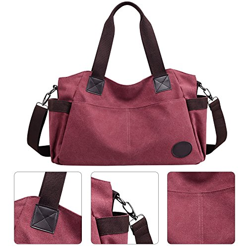Bag Handle Bag Bag Large Handbags Capacity Wine Tote Messenger Vintage Shoulder for Women Crossbody Hobo Red Canvas Top Fanspack Hz460WaAa