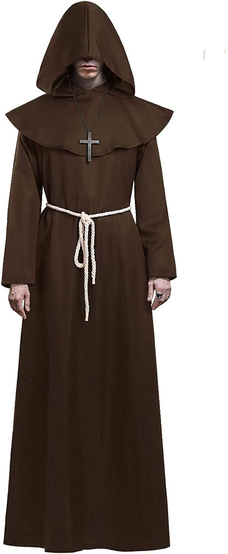 KONVINIT Medieval Fraile Túnica Disfraz Monje con Capucha Disfraces de Monje Sacerdote Disfraz de Monje Hombre para Halloween Disfraz Cosplay marrón XL