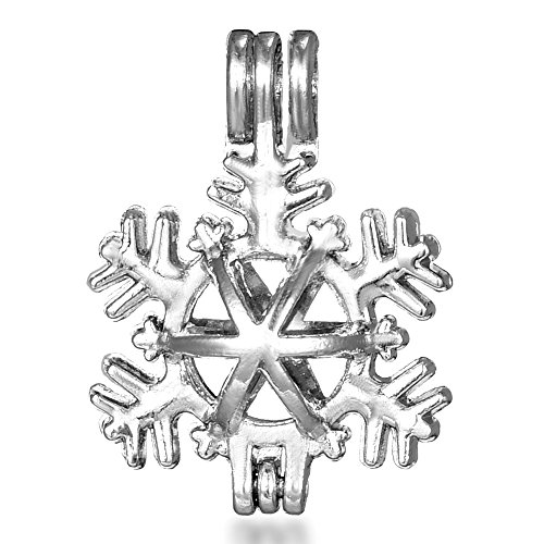 10 pcs Snowflake Cage Pendant Pearl Beads Cage Locket Charms Essential Oil Aromatherapy Diffuser Pendant Necklace Jewelry Making Supplies Holiday Souvenir Gifts ()