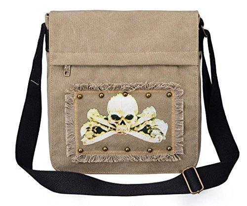 Women's Canvas Travel Bag Student Drawstring Bucket Backpack (Khaki) - 1