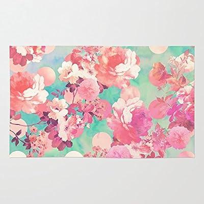 Society6 Romantic Pink Retro Floral Pattern Teal Polka Dots Rug