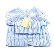 Baby Dove Cable Knit Cardigan & Beanie Set,Blue,3-6 Months