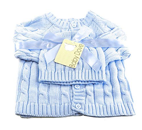 Baby Dove Cable Knit Cardigan & Beanie Set,Blue,3-6 Months - Baby Set Sweater
