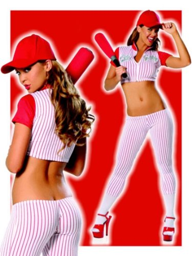 [Sexy Play Girl Baseball Costume - Red - M/L] (Womens Baseball Costumes)