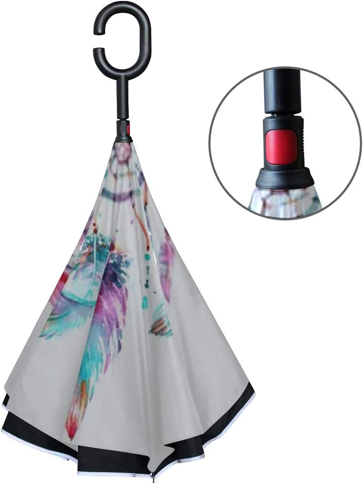 Double Layer Inverted Inverted Umbrella Is Light And Sturdy Dreamcatcher Reverse Umbrella And Windproof Umbrella Edge Night Reflection