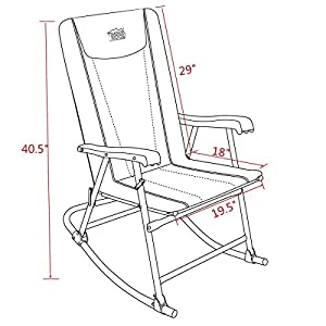 Timber Ridge Rocking Chair camping Folding Padded Heavy Duty supports 300lbs Patio , Lawn, Outdoor