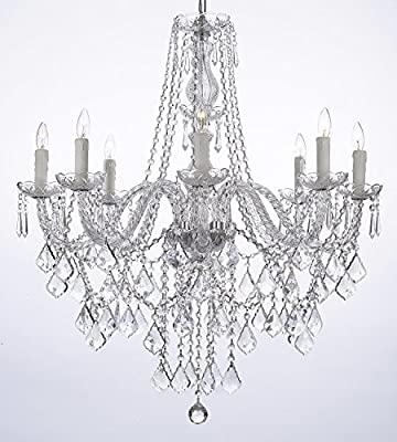 Crystal Chandelier Lighting 33ht X 28wd 8 Lights Fixture Pendant Ceiling Lamp