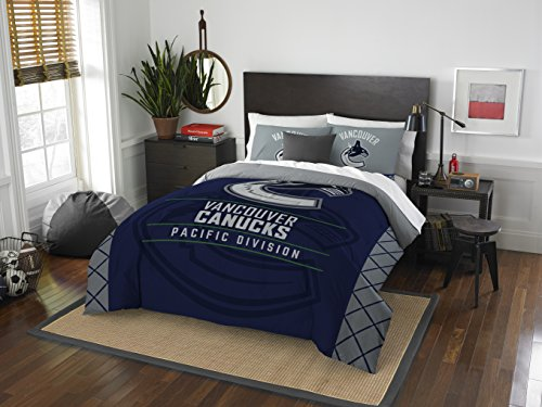 The Northwest Company Officially Licensed NHL Vancouver Canucks Draft Full/Queen Comforter and 2 Sham Set, Blue/White ()