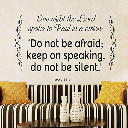 Wall Stickers Inspiring Quotes Home Art Decor Decal Mural One Night The Lord Spoke to Paul in a Vision Bible Verse Christian