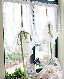 2 Packs White Ruffle Balloon Shades Embroidery Flower Window Treatments