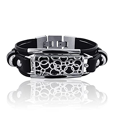 FitBit flex Jewelry - Fitbit Bracelet SOMA - stainless steel - rhodium plated- real leather - Fitbit Flex replacement band - available colors Back/Silver, Black/Gold, Red/Silver and Red/Gold