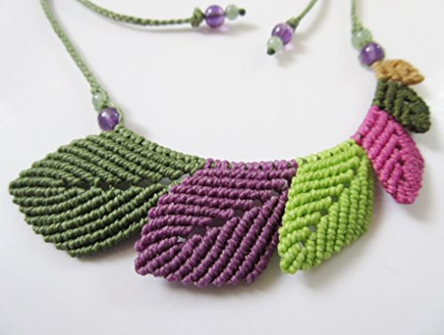 Leaves Shape Macrame Pendant/Necklace Creation with Amethyst and Aventurine Stone Beads