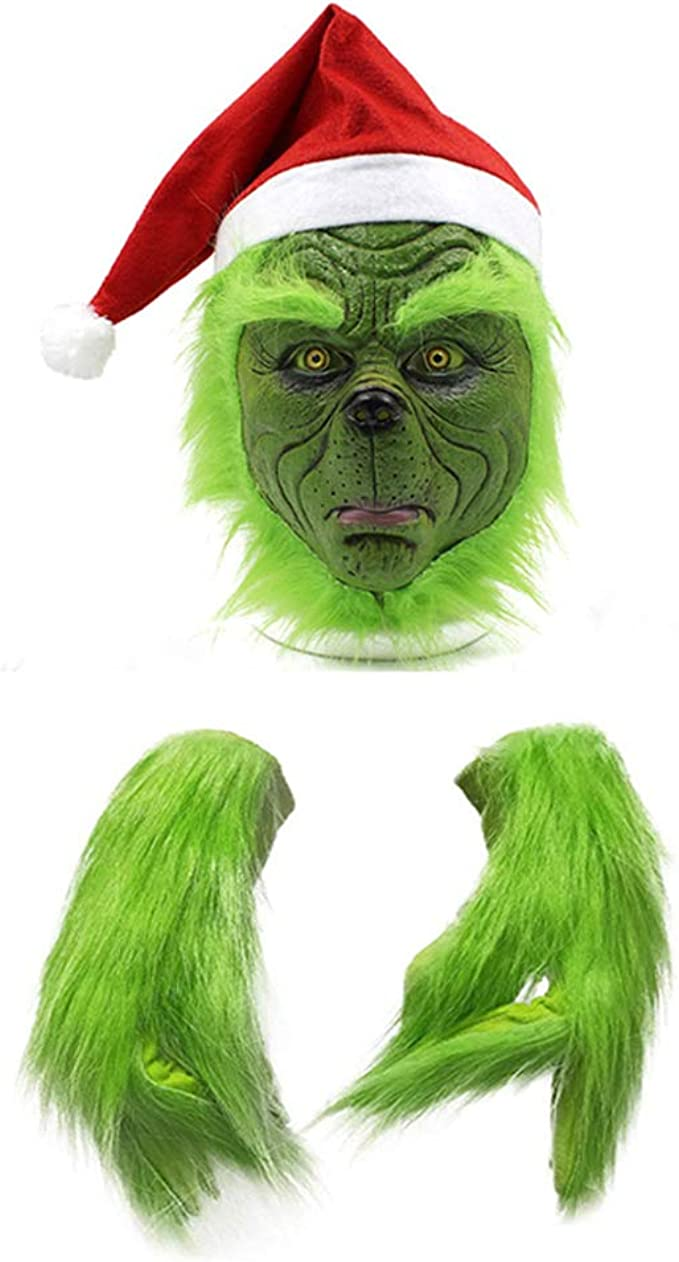 Christmas Grinch Mask and Gloves Red Hat Halloween Cosplay Party Costume Props