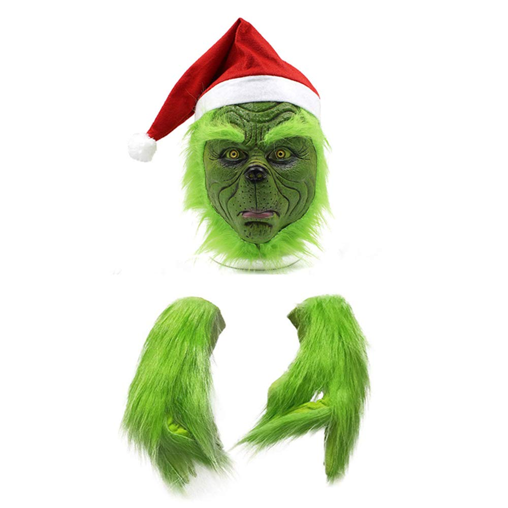 mimisasa Grinch Masque Gants No/ël Bonnet De Noel Halloween Masque Latex Masques Adultes Masque Et Gants