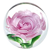 BTSKY® Photography Flower Crystal Glass Ball, 3.15 Inch Crystal Sphere Ball Art Handcraft Paperweight Gift with Giftable Box