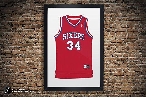 Vintage Philadelphia 76er's Jersey Illustrations: Dr. J, Iverson, Barkley, Chamberlain, Malone- Premium Print: Paper or Large Giclee Sports Memorabilia Wall Art 13