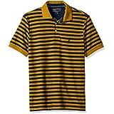 Nautica Men's Classic Short Sleeve Stripe Polo Shirt, Yellow/Gold, Medium