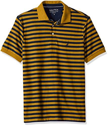Nautica Men's Classic Short Sleeve Stripe Polo Shirt, Yellow/Gold, Medium (Yellow Striped Polo)