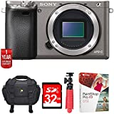 """Sony Alpha a6000 24.3MP Grey Interchangeable Lens Camera - (Body) ILCE6000/H w/32GB Deluxe Bundle Includes, Carrying Case , 12"""" Spider Tripod, 32GB Card, Paint Shop Pro X9 & 1 Year Extended Warranty"""