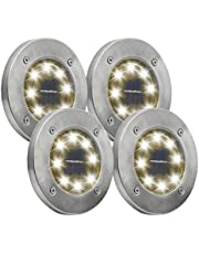 Solar Ground Lights, 8 LED Garden Pathway Outdoor In-Ground Lights, 4 Pack (Warm White)