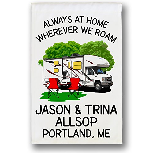 Cheap Always at Home Wherever We Roam, Class C Motorhome Campsite Flag, Customize Your Way, White (White)