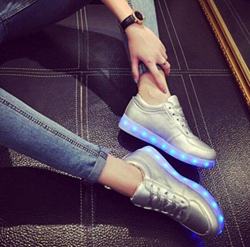 (Present:kleines Handtuch)JUNGLEST 7 Farbe USB Aufladen LED Leuchtend Sport Schuhe Sportschuhe Sneaker Turnschuhe Walkingschuhe für Unisex-Erwa Silber