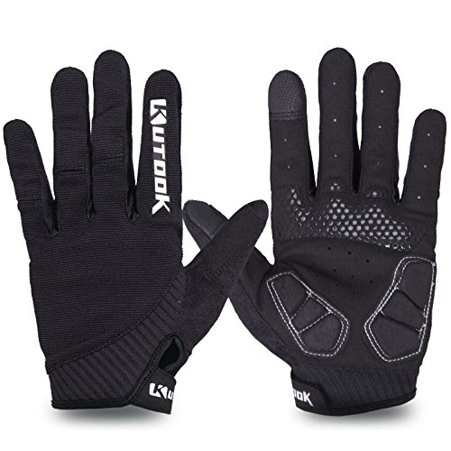 KUTOOK Mountain Bike Gloves, Gel Padded Cycling Gloves Full Finger Touch Screen Black Large
