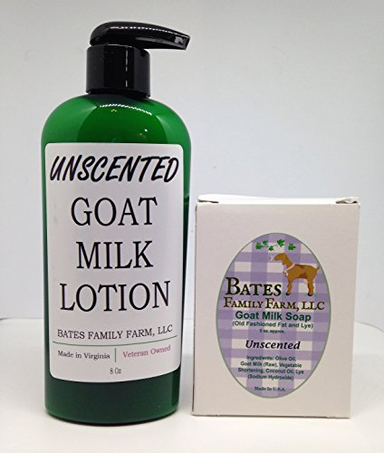 Bates Family Farm Goat Milk Lotion and Goat Milk Soap Combo Pack (Unscented)