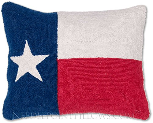 Lone Star Throw (Handmade 100% Wool Decorative Hooked Red White Blue Lone Star State Texas Flag Throw Pillow. 16