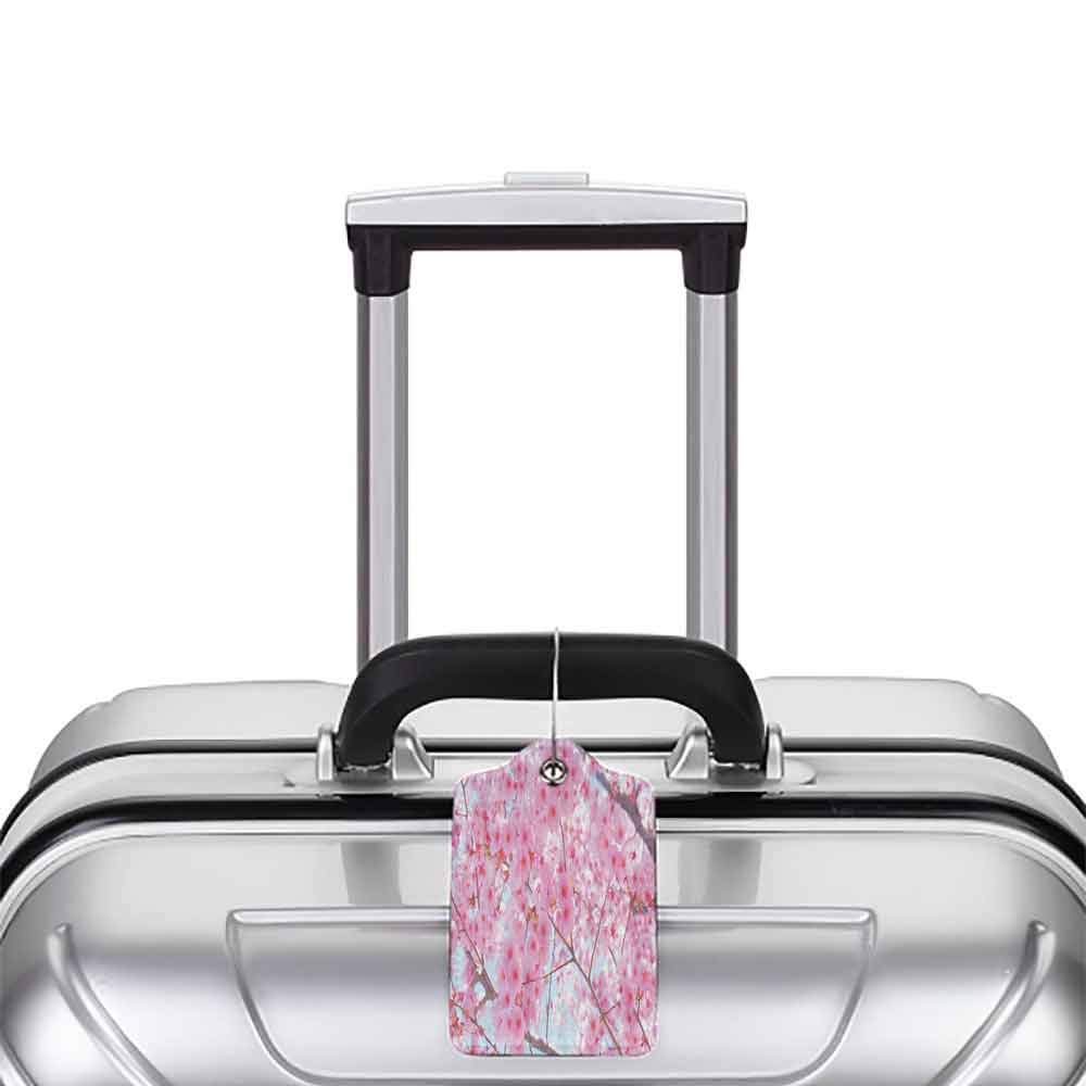 Multicolor luggage tag Floral Japanese Sakura Florets Essence Nature Beauty Blossoms Refreshing Summer Picture Hanging on the suitcase Baby Pink W2.7 x L4.6