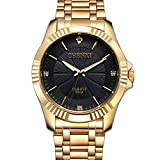 MASTOP Fashion Casual Mens Gold Watch Diamante Dial Quartz Stainless Steel Water Resistant Wrist Watch